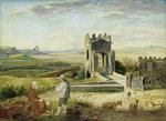 Campagna Landscape near the Nomentano Bridge (oil on paper laid down on paperboard) Wall Art & Canvas Prints by Philippe de Champaigne