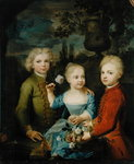 The Children of Councillor Barthold Heinrich Brockes (1680-1747) (oil on canvas) Fine Art Print by Balthasar Denner