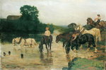 Bathing Horses after Work, 1884 (oil on canvas) Postcards, Greetings Cards, Art Prints, Canvas, Framed Pictures & Wall Art by John Frederick Herring Snr