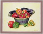 Peppers and Aubergines, 1990 Wall Art & Canvas Prints by Norman Hollands