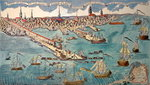 A View of Part of the Town of Boston in New England and British Ships of War Landing Their Troops, 1768 Poster Art Print by English School