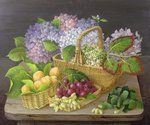 Hydrangeas and Fruit in Basket Fine Art Print by George Lance