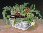 Tureen of Aubergine, Courgette, and Artichoke, 1997 Postcards, Greetings Cards, Art Prints, Canvas, Framed Pictures, T-shirts & Wall Art by Norman Hollands
