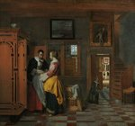 Interior with Women beside a Linen Cupboard, 1663 (oil on canvas) Postcards, Greetings Cards, Art Prints, Canvas, Framed Pictures & Wall Art by Vilhelm Hammershoi