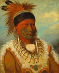 The White Cloud, Head Chief of the Iowas, 1844-45 (oil on canvas) Postcards, Greetings Cards, Art Prints, Canvas, Framed Pictures, T-shirts & Wall Art by Maximilien Radiguet