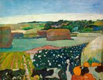 Haystacks in Brittany, 1890 (oil on canvas) Wall Art & Canvas Prints by Paul Gauguin