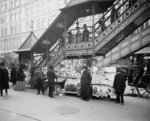 A characteristic sidewalk newsstand, New York City, c.1903 (b/w photo) Postcards, Greetings Cards, Art Prints, Canvas, Framed Pictures, T-shirts & Wall Art by French School