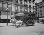 A 5th Ave stage, New York, N.Y., c.1900-10 (b/w photo) Wall Art & Canvas Prints by English School