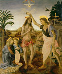 The Baptism of Christ by John the Baptist, c.1475 (oil on panel) Fine Art Print by Giotto di Bondone
