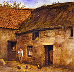 The Farmyard (w/c on paper) Wall Art & Canvas Prints by E.B. Watts