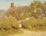 A Surrey cottage (w/c on paper) Wall Art & Canvas Prints by Arthur Claude Strachan