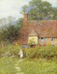 By the Cottage Gate Fine Art Print by Isabel Oakley Naftel