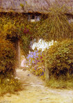 A cottage at Redlynch Fine Art Print by Arthur Claude Strachan