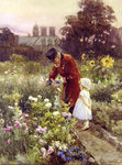 Grandad's Garden (w/c on paper) Fine Art Print by Edward Killingworth Johnson