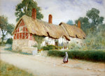 Ann Hathaway's Cottage (w/c) Wall Art & Canvas Prints by Arthur Claude Strachan