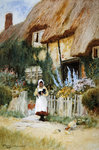 By the Cottage Gate (w/c) Wall Art & Canvas Prints by Arthur Claude Strachan