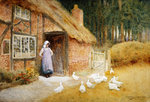 The Goose Girl (w/c) Fine Art Print by Arthur Claude Strachan