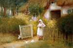Feeding the Doves (w/c) Wall Art & Canvas Prints by Arthur Claude Strachan