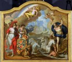 Allegory of the Power of Great Britain by Sea, design for a decorative panel for George I's ceremonial coach, c.1720 (oil on panel) Wall Art & Canvas Prints by Filippo Lauri
