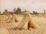 Corn Stooks by Bray Church, 1872 (oil on paper laid on board) Wall Art & Canvas Prints by Jacob Grimmer