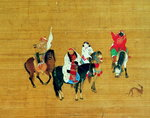 Kublai Khan (1214-94) Hunting, Yuan dynasty (ink & colour on silk) (detail) Fine Art Print by Liu Kuan-tao