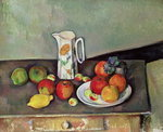 Still life with milkjug and fruit, c.1886-90 Postcards, Greetings Cards, Art Prints, Canvas, Framed Pictures, T-shirts & Wall Art by Paul Cezanne