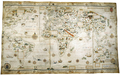 Map of the World by Pierre Desceliers - print