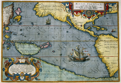 Map of the Pacific Ocean by Abraham Ortelius - print