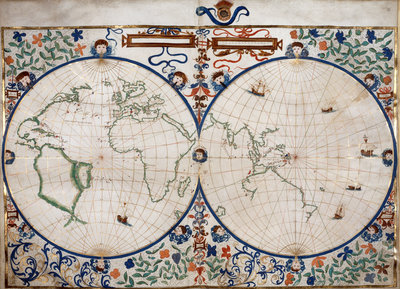 World map by Anonymous - print