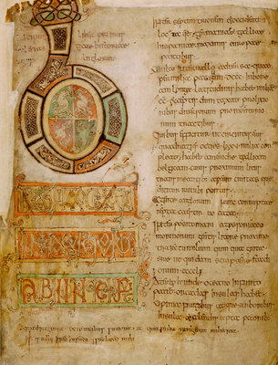The opening of Bede's History by Bede - print