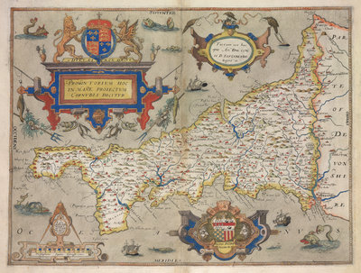 Map of Cornwall by Christopher Saxton - print
