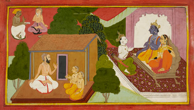 Valmiki teaches the Ramayana by Anonymous - print