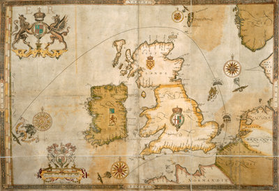 Map of the Spanish Armada and the British Isles by Robert Adams - print