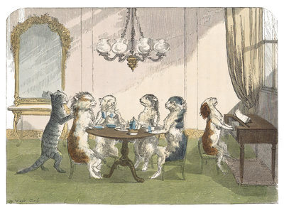 The kittens at tea by H Weir - print