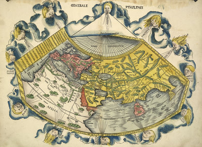 Ptolemic World Map by Claudius Ptolemy - print