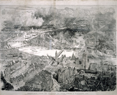 Bird's-eye view of London by W L Wyllie - print