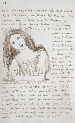 Alice puts down the bottle by Lewis Carroll - print