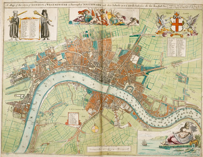 London and Westminster rebuilt after the Great Fire of London map by Anonymous - print