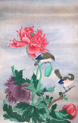 Two birds with flowers by Shiv Dayal - print