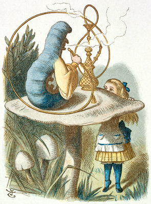 Alice meets the blue caterpillar by Sir John Tenniel - print