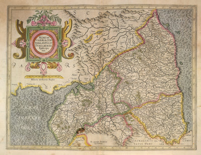 Map of Northumbria by Gerardus Mercator - print