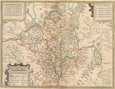 Map of Worcestershire by Anonymous - print