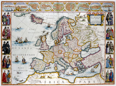 A map of Europe by J Blaeu - print