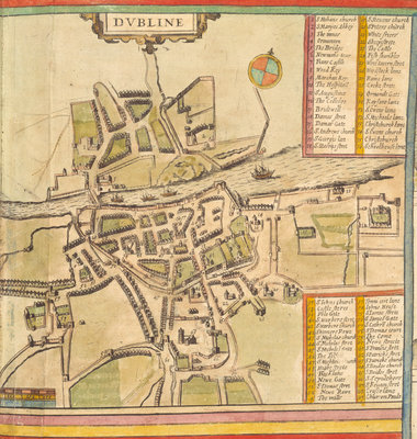 A historic map of Dublin by Georg Braun - print