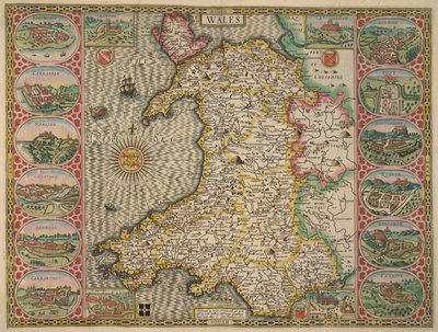 Map of Wales by John Speed - print