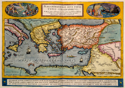 Map of the Mediterranean by Abraham Ortelius - print