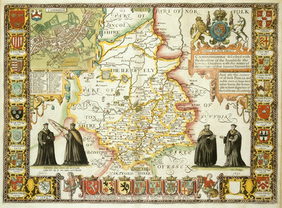 Map of Cambridgeshire by J Speed - print