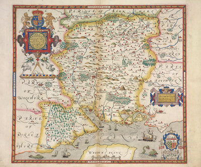 Map of Hampshire by Christopher Saxton - print