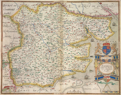 Map of Essex by Christopher Saxton - print
