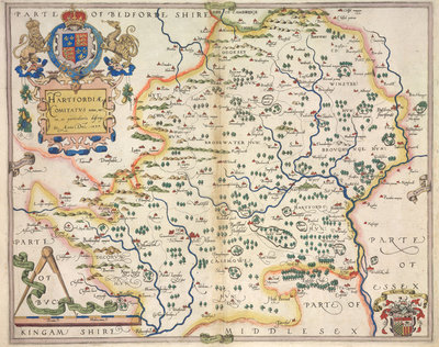 Map of Hertfordshire by Christopher Saxton - print